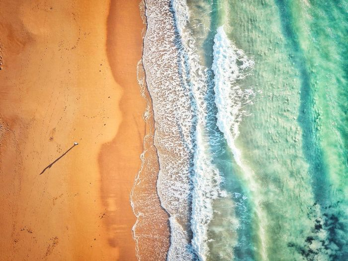 Aerial view of person at beach