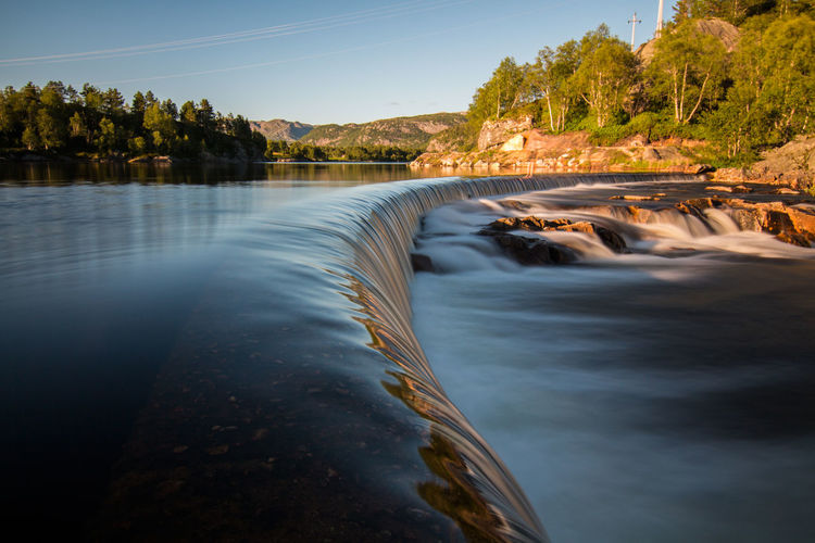 Beauty In Nature Day Hydroelectric Power Landscape Long Exposure Motion Nature No People Norway Outdoors Reservoir Scenics Sky Stream - Flowing Water Tree Water Waterfall Waterfalls