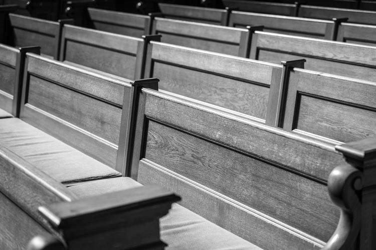 Architecture Large Group Of Objects Chair Music Relaxation Empty Arts Culture And Entertainment High Angle View Close-up Day Absence Table Indoors  No People Seat Selective Focus Still Life Pews Pew Church In A Row Chairs Seating Bench Bench Wood - Material Black And White Krull&Krull Black And White