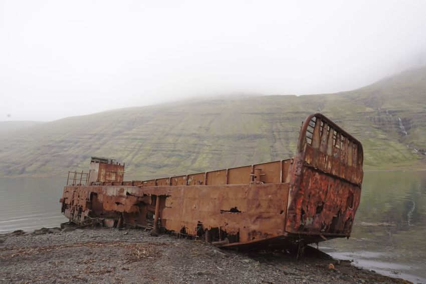 In Need Of Repair Mjóifjörður Abandoned Aground Bargain Beauty In Nature Botany Day Fog Landscape Lick Of Paint Mountain Nature Needs I Like It Like This No People Outdoors Rural Scene Scenics Sky
