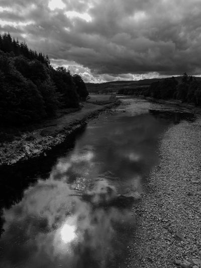 Cloud - Sky Sky Water Beauty In Nature Tranquil Scene Reflection Outdoors River Idyllic Black And White Scotland Nature Scenics - Nature