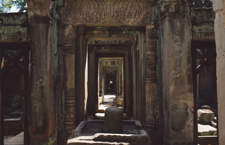 Siem Reap Cambodia Angkor Architecture History Built Structure The Past Abandoned Old Building No People Run-down Damaged Indoors  Entrance Obsolete Decline Door Deterioration Ancient Old Ruin Day Weathered Architectural Column Ruined Ancient Civilization