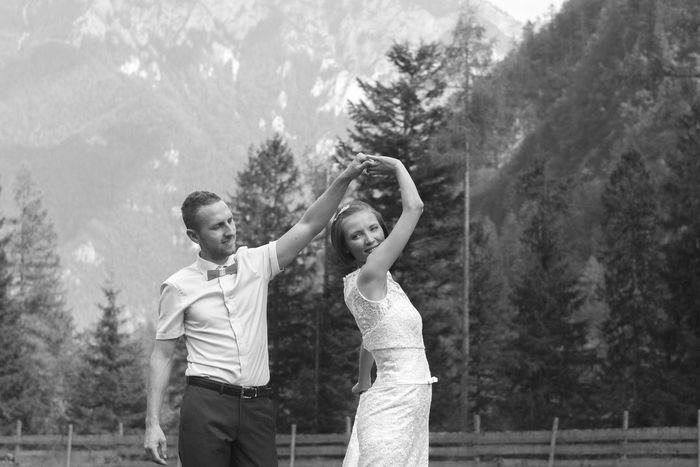 Ana & Jernej Bride Bw Dress Happiness Husband Monochrome Outdoors Photo Slovenia Wedding Wedding Photography Dance Logarska Dolina
