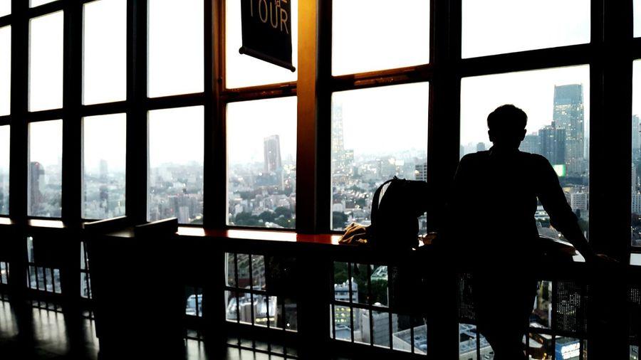 Silhouette Man Sitting In Restaurant
