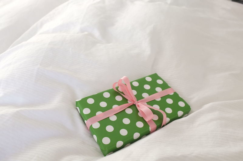 Indoors  Bed Furniture Textile Pattern Pillow High Angle View Linen Spotted Bow Polka Dot Sheet Ribbon No People Close-up Still Life Wrapping Paper Tied Bow Gift Ribbon - Sewing Item Present Birthday Surprise