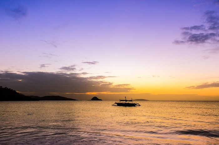 Sunset Water Beauty In Nature Sea Transportation Scenics Nature Tranquil Scene Nautical Vessel Tranquility Sky No People Outdoors Day Philippines Calaguas Island Philippines Calaguas Hope Peace Solitude Second Acts