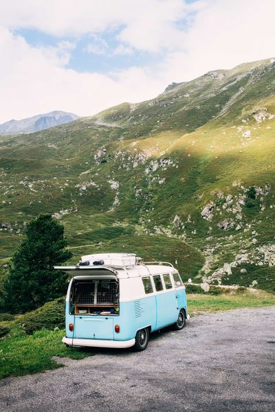 Green Hippy Van Traveling Car Day Land Vehicle Landscape Mode Of Transport Mountain Nature No People Outdoors Road Roadtrip Scenics Switzerland Transportation Van Vw Van