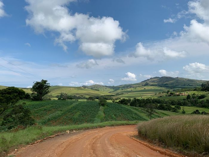 Road in Swaziland Mountains And Sky Landscape_photography Landscape_Collection ShotOnIphone No Filter Landschaft Berge Swaziland  Swasiland Eswatini Cloud - Sky Sky Plant Environment Green Color Farm No People Tree Nature Agriculture Beauty In Nature Rural Scene Tranquil Scene Growth Tranquility Scenics - Nature Day Field Land