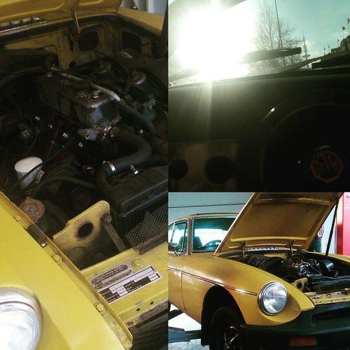Start der Restauration war vor knapp drei Wochen (die Bilder zeigen den damaligen Stand). Aktuell ist der Motor ausgebaut und die Kupplung, sowie Getriebe werden überholt. Motorraum wird schwarz lackiert, neue Felgen sind schon drauf. Bremsen und Fahrwerk wurden zuvor überholt. Kommende Woche ist die Basis dann auf einem sehr guten Stand. Als nächstes folgt dann ein neues Faltdach und im besten Fall parallel dazu eine neue Lackierung, dazu dann gleich ein neues Body-Kit mit Chrome-Grill. Irgendwann danach kommt dann das Interior. Es wird Geil! Projekt Thenewmaggie MG  MGB GT English Classic Car Oldtimer Schöngeil