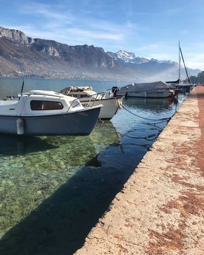 Lake Annecy, France 🇫🇷 Nautical Vessel Water Transportation Mountain Mode Of Transport Moored Nature Reflection Boat Sky Tranquility Sea Scenics Day Tranquil Scene Mountain Range Outdoors Beauty In Nature Sunlight No People Wunderlust Annecy, France Annecy Lake Annecylake Annecy