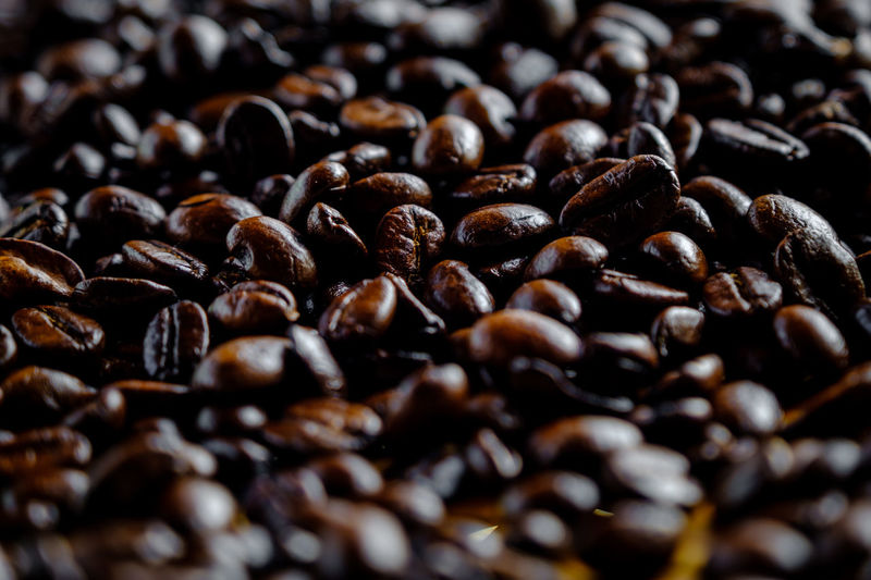 Close up selective focus coffee beans for blur background abstract and natural light concept