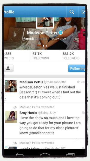 Madison Pettis Retweeted Me On Twitter