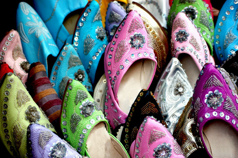 Morocco Backgrounds Choice Close-up Clothing Collection Fashion For Sale Full Frame In A Row Large Group Of Objects Multi Colored No People Oriental Ornate Pattern Retail  Selective Focus Shoes Variation