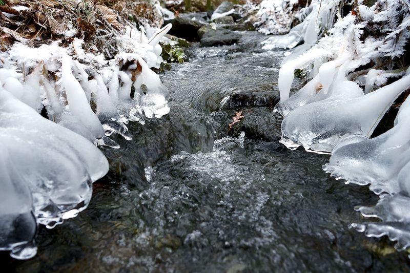 Frozen river amidst rocks