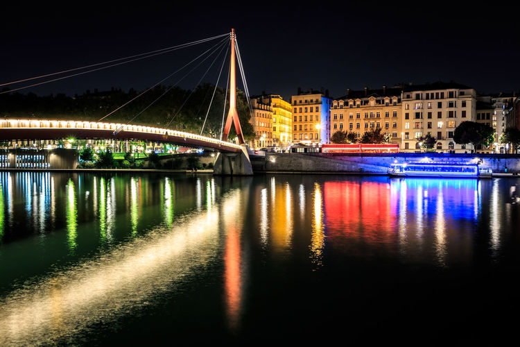 Illuminated Night Architecture Building Exterior Built Structure City Building Reflection Water Bridge Transportation Bridge - Man Made Structure River Long Exposure No People Light Color Lyon Canon Canonphotography France Europe City Cityscape