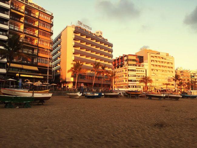 Barcas Edificios Playa #beach Atardecer Las Canteras