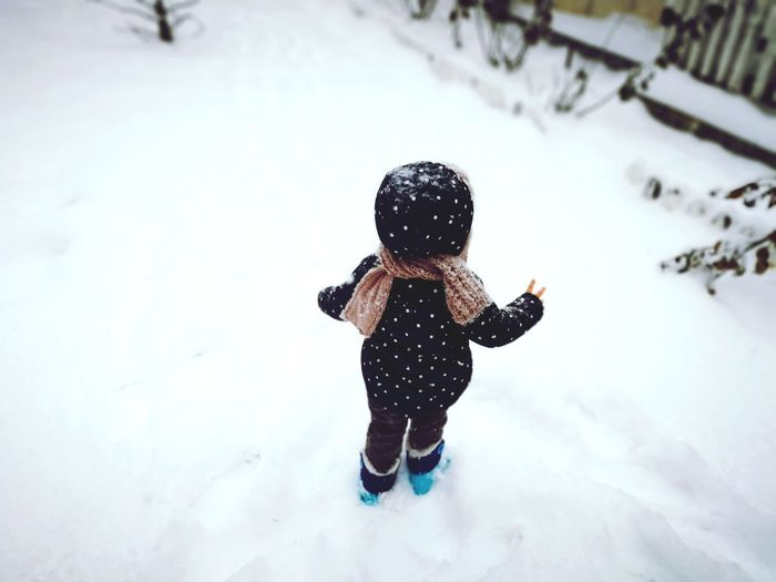Cold Weather Snow Snowing Playing In The Snow Rear View Winter Winterscapes EyeEm Selects Warm Clothing Child Full Length Childhood Snow Winter Cold Temperature Happiness Girls Fun One Baby Girl Only Blizzard Snowfall Snowball Snowflake Baby Clothing Snow Covered Baby Babyhood