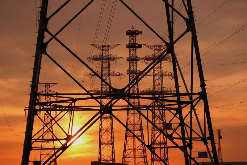 Highvoltage Steel Tower  Towers Sun Sunset Sunsets Evening Glow Orange Sky Lines Wire Tokyo Japan Silhouette