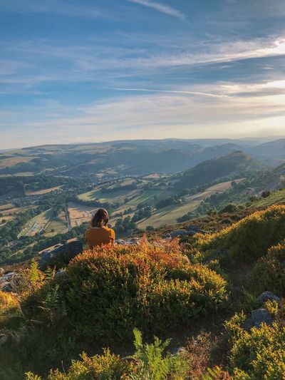 Landscape North Wales Green Golden Hour Hills Valley Solitude Wales Natural Light North Wales Sunset Real People Tranquility Non-urban Scene Sitting Nature Beauty In Nature One Person