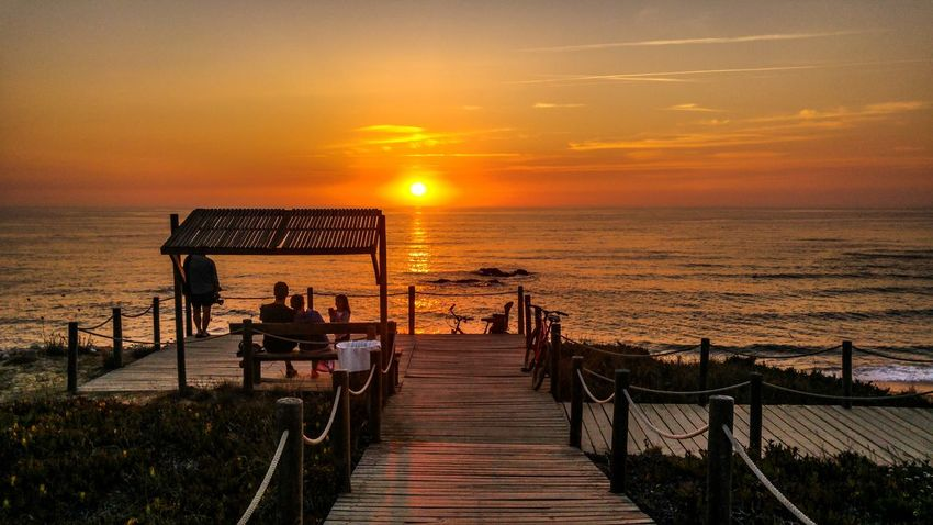 Sea Sunset Beach Horizon Over Water Beauty In Nature Tranquility Nature Tourism Sun Almograve Beach Portugal Sky Perfection Beauty In Nature Silhouette Tranquil Scene