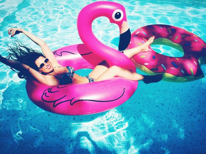 Check This Out Hello World Happy Girl Poolparty Pool Summer Colorful Flamingo Poolfloat