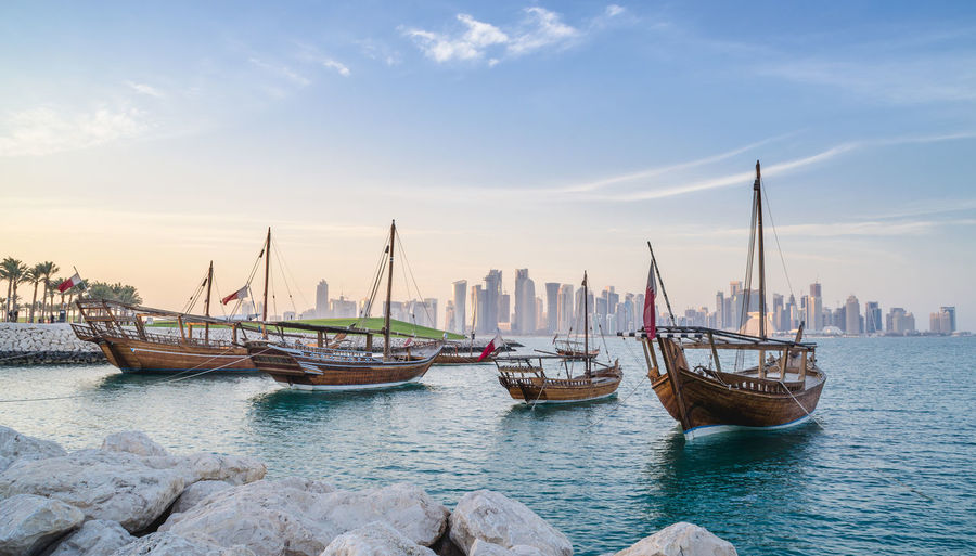 Cityscape Doha Middle East Skyline Boat Corniche Day Dhow Landscape Nature Nautical Vessel No People Outdoors Qatar Sky Transportation Water