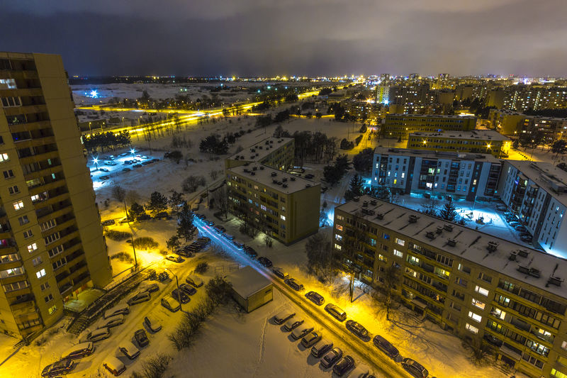 High Angle View Of Illuminated City At Night During Winter