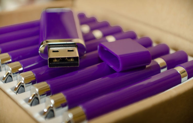 Purple Indoors  No People Close-up USB Flash Drive Technology