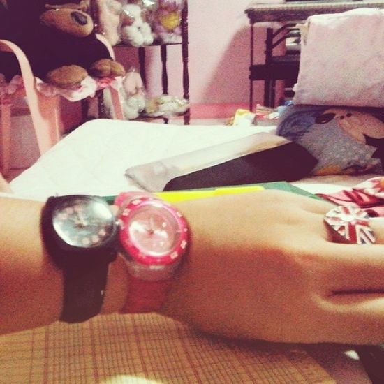 My two watches!!!! >_< Hihihi I am done studying.. Almost. My favorite watch is the pink one~ though it's not my favorite color. OwO ⌚ ⌚ ⌚ ⌚ Onii-san gave it to meh~ ♥♥ The black one is mine.. but I haven't been using it.. And when I say mine it's mine~ Watches~ putting them both together.. PARA MAGDOUBLE TIME~ LOLOLOL X'D tama na.. I'm going back to studying~ ;3 Watches Pinkandblack Blackandpink Pink black timex britishring britonforever gits time doubletime myroom pinkroom studying bored sleepy accounting