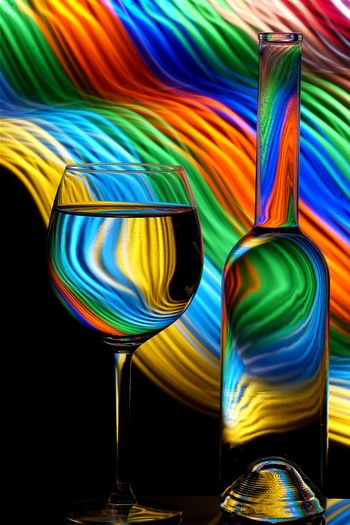Longexposure Lightpaintingphotography Lightpainting Multi Colored No People Glass Low Angle View Drinking Glass Pattern Refreshment Arts Culture And Entertainment Drink Alcohol Indoors  Water Day Still Life Close-up Choice Decoration Abstract Flag Nightlife