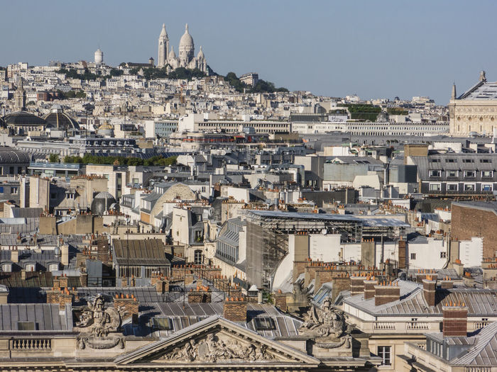 Cityscape With Sacre Coeur Against Clear Sky