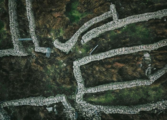 Aerial view of stone walls