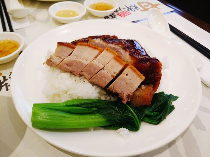 Roast pork and duck on fragrant rice at Kam's Roast Goose Roast Duck Roastpork HongKong Plate Food Food And Drink Ready-to-eat Freshness Meat Serving Size Food Stories