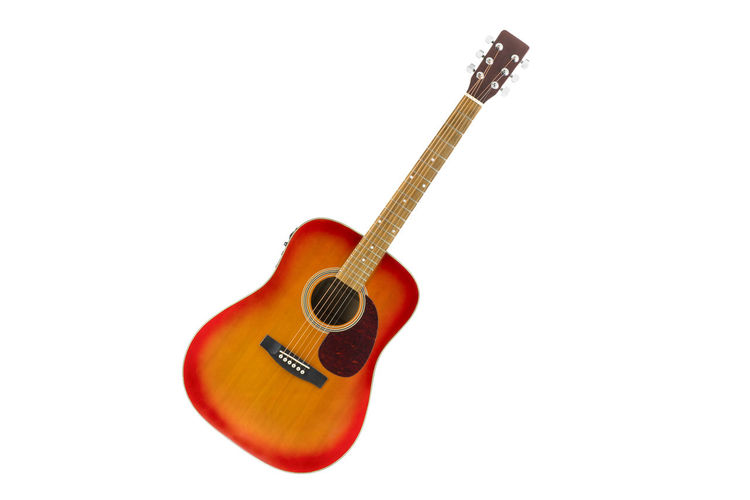 Cherry Classic Country Horizontal Inclined Isolated Music Orange Red String Sunburst Acoustic Guitar Amplified Battery Copper  Electrified Folk Fretboard Instrument Knob Play Silver  Volume White Wooden