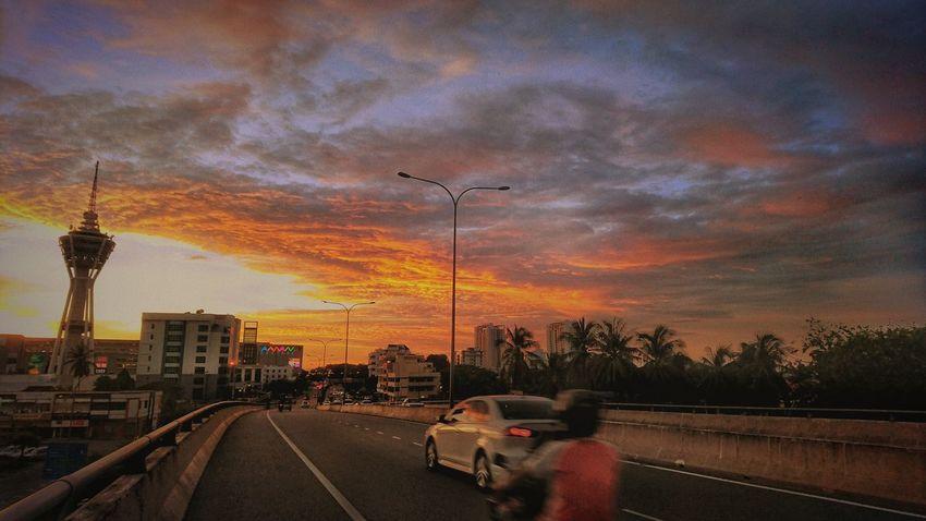 Sunset Cloud - Sky Sky City On The Way To Home At Alor Setar Malaysia