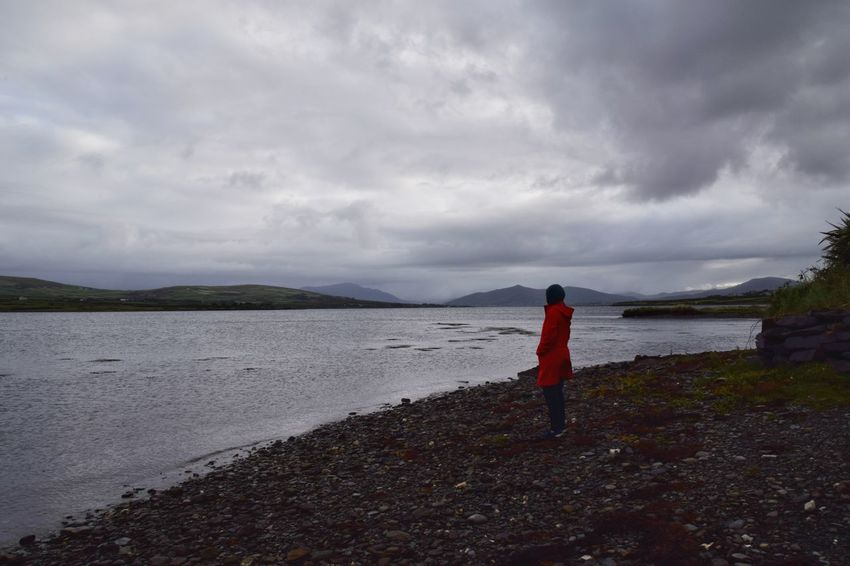 Enjoying peaceful morning at Portmagee, County Kerry, Ireland. Full Length Beach Standing Water Red Women Sky Landscape Cloud - Sky Dramatic Sky Shore Horizon Over Water Calm