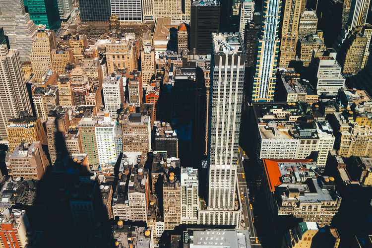 High angle view of modern buildings in manhattan, new york city