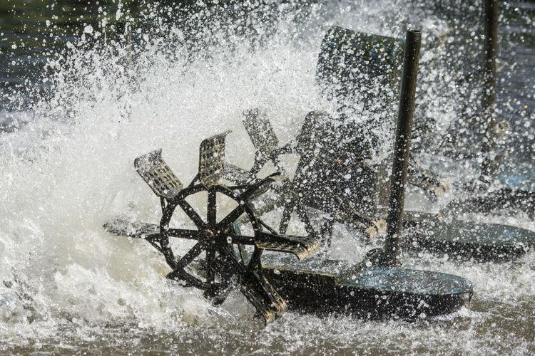 Water wheel splashing in river