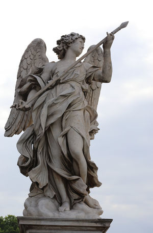 Statue outside of Vatican City, Rome, Italy. Angels Cloudy Art And Craft Clothing Day Human Representation Low Angle View No People Outdoors Sculpture Sky Spear Spearhead Statue Summer Wings