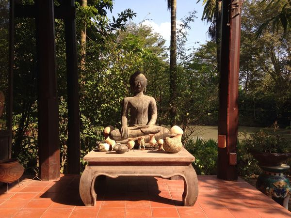 Stone buddha Stone Buddha Thai House Countryside Nakornchaisri Afternoon Coffee Relax Moment In The Garden Chill Afternoon Jardin De Chaisri Thailand