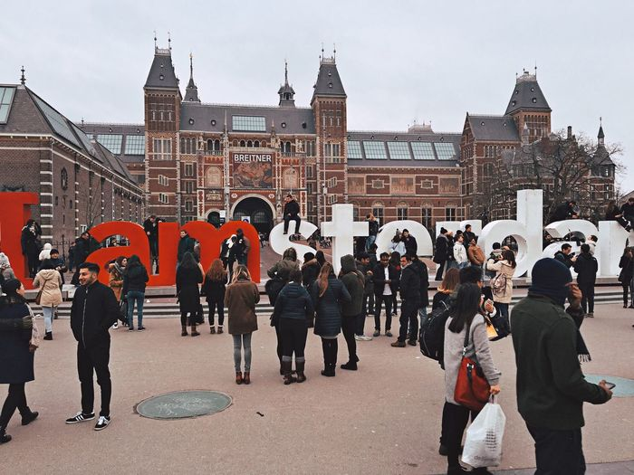 Streetphotography People Watching Peoplephotography Amsterdam Netherlands Building Historical Building Museum History Letters Words Exposition Winter February Traveling