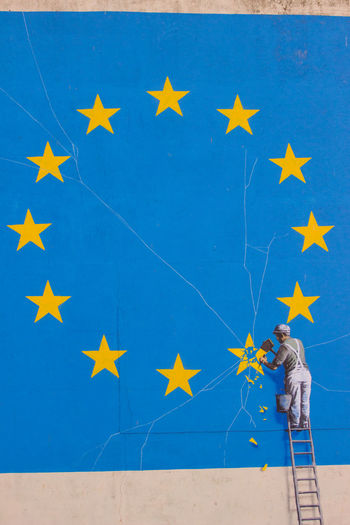 Banksy Brexit Graffiti, Dover,Kent,England Banksy Europe Union European Union EyeEm Gallery Graffiti Icon Ladder Protest United Kingdom Arts Culture And Entertainment Brexit Eu Europe Europe Flag Iconic Masterpiece Nightmare Original Referendum Remain Soft Border Tourism Travel Destinations Vivid International Vote