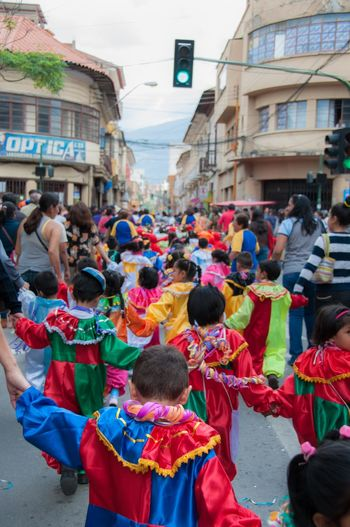 Bolivia Carnival Crowds and Details Celebration Children Cochabamba Fun Joyful Kids Carnaval Childhood Costume Costumes Culture Cultures Dressing Up Fun Time Joy Kids Having Fun Large Group Of People Party Street