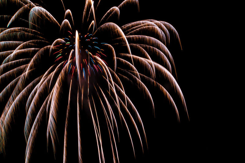 Low angle view of firework display against black background