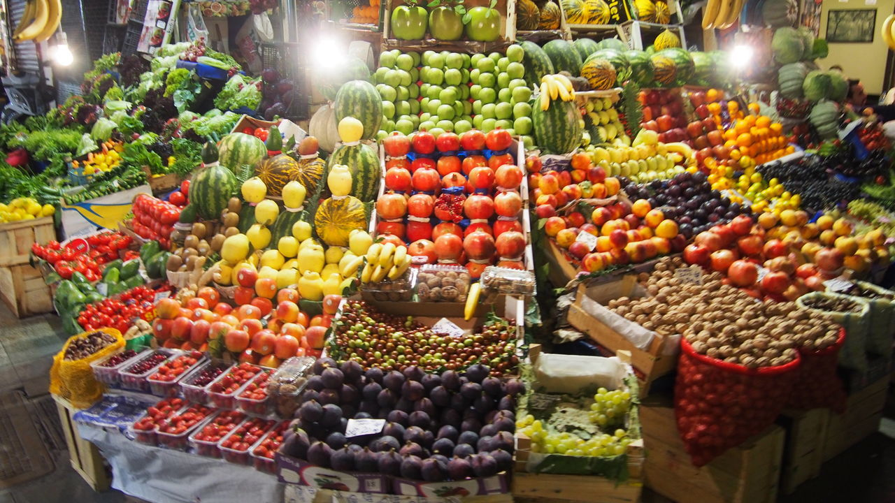VARIETY OF FOOD FOR SALE IN MARKET