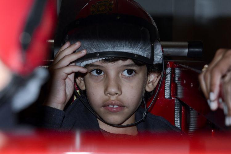 Close-Up Of Boy Wearing Sports Helmet