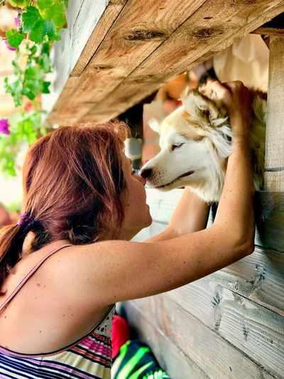Girl and dog Girl Love Kiss Dog Mammal One Animal Real People Pets Vertebrate Domestic One Person Domestic Animals Childhood Lifestyles Leisure Activity Animal Wildlife Day Child Women Animals In The Wild Holding