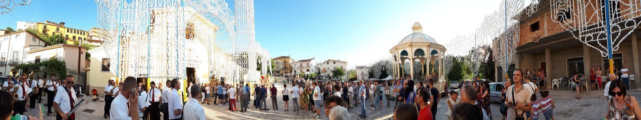 Panoramic view of the Castelfranci square Religion Spirituality Large Group Of People Panoramic Tradition Arts Culture And Entertainment Art Is Everywhere