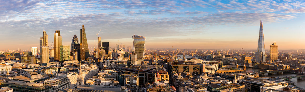 Sunset behind the new skyline of London, United Kingdom Afternoon City City Of London Financial District  London Orange Panorama Thames United Kingdom Architecture Building Exterior Built Structure City Cityscape Cloud - Sky Clouds Modern Sky Skyscraper Sunset Tower Travel Destinations Uk Urban Urban Skyline