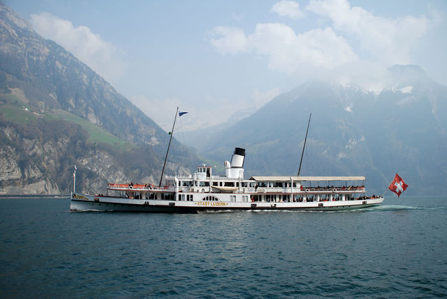Beauty In Nature Cloud - Sky Dampfschiff Day Mode Of Transportation Mountain Mountain Range Nature Nautical Vessel No People Outdoors Passenger Craft Sailboat Sailing Scenics - Nature Sea Ship Sky Transportation Travel Vierwaldstaettersee Vierwaldstättersee Water Waterfront Yacht